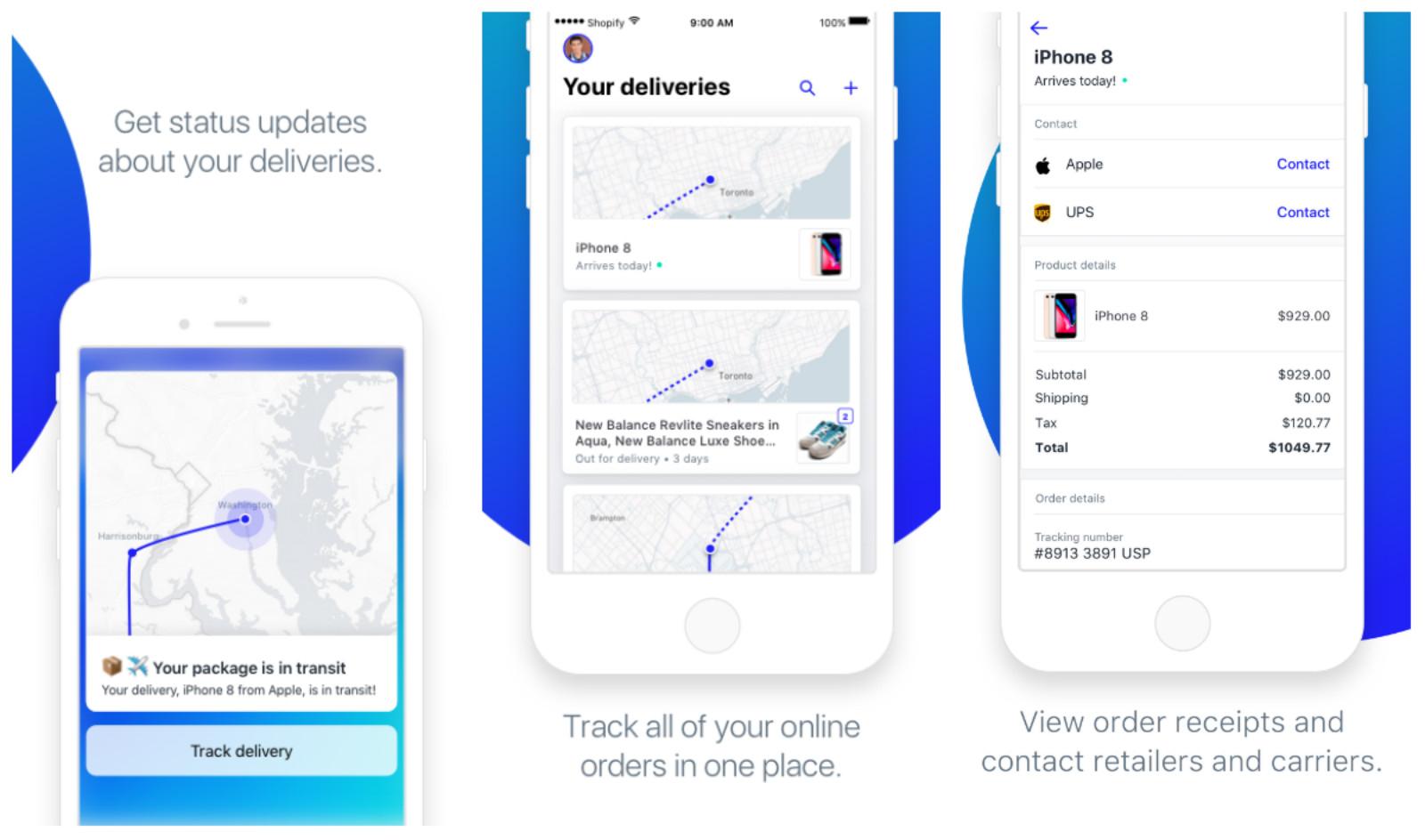 La aplicación Shopify's Arrive rastrea sus pedidos en línea en un mapa en vivo. También afirma mantener sus datos de compras privados.