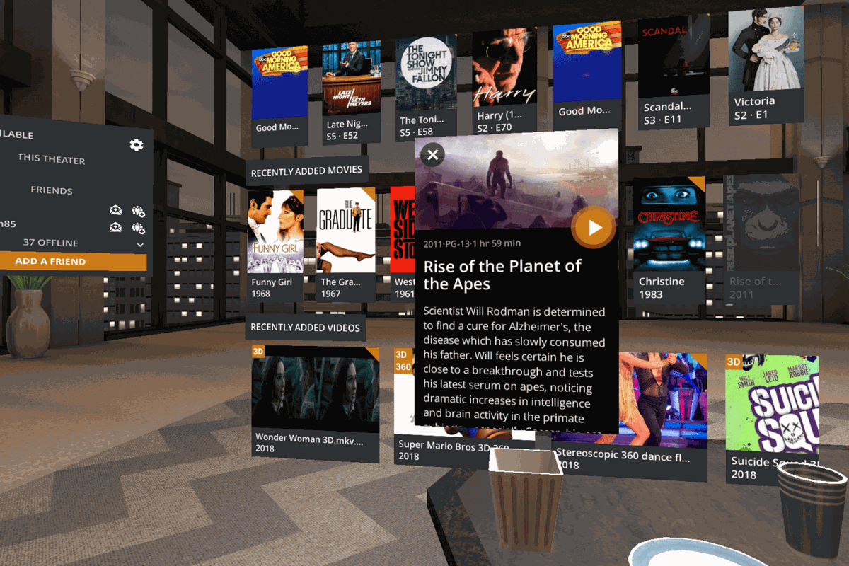 Ahora puedes ver Plex en realidad virtual con Google Daydream. Y puedes traer varios amigos