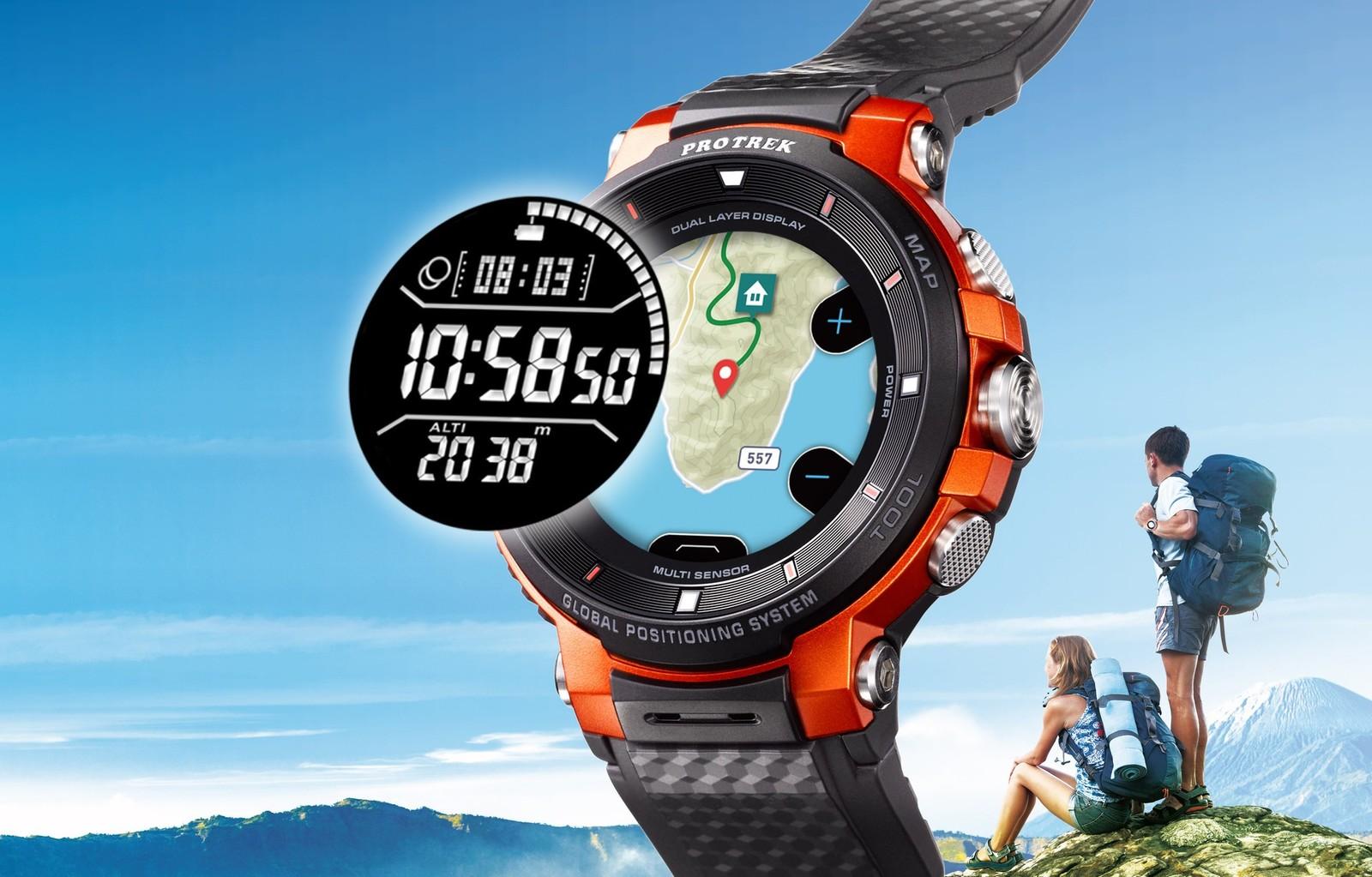Nuevo smartwatch de WSD-F30 usar OS robusto Casio ha mejorado doble capa pantalla, menor caso. Esto sigue siendo un enorme reloj, pero Casio ha hecho cambios importantes.