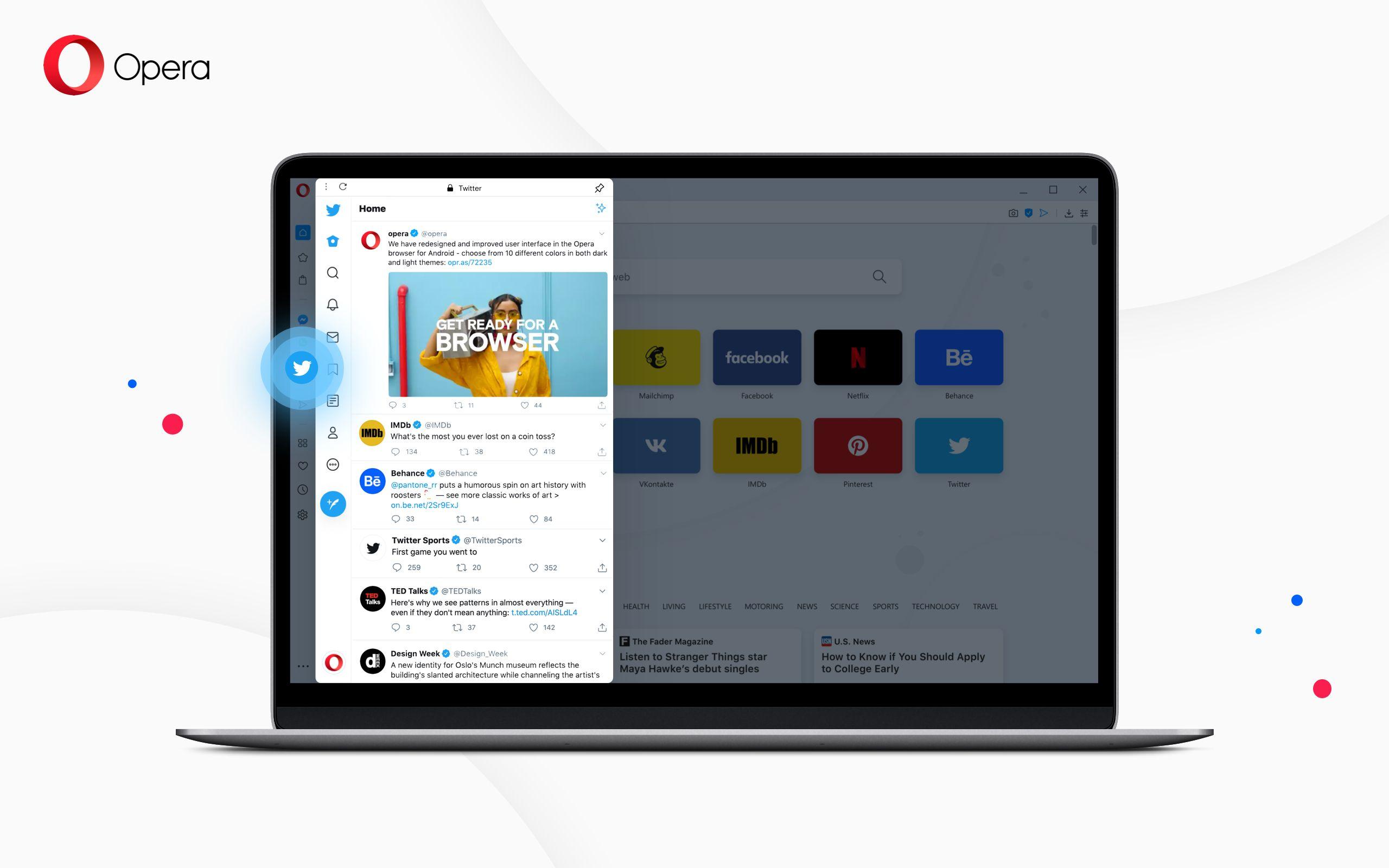 Opera se posiciona como el navegador más 'social media' al incorporar Twitter a su barra lateral