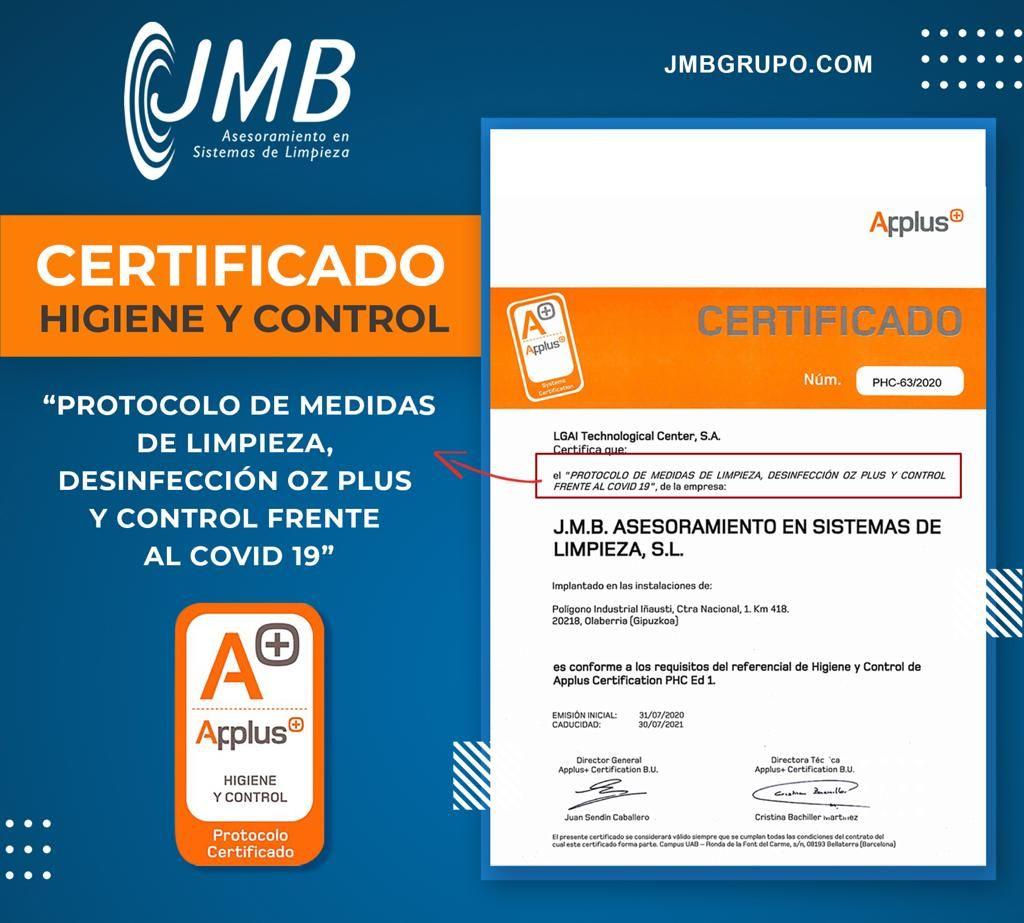 JMB GRUPO certifica, con Applus, su protocolo frente al COVID19